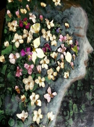 """Acrylic, Pressed Flowers. 12"""" x 16"""""""