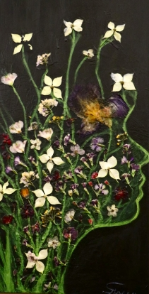 "Acrylic, Pressed Flowers. 15"" x 30."" SOLD"