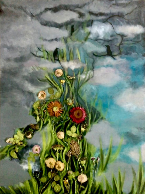 "SOLD, Acrylic, Pressed Flowers. 30"" x 40"""