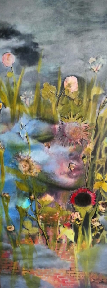 """Acrylic, Pressed Flowers. 16"""" x 40"""" SOLD"""