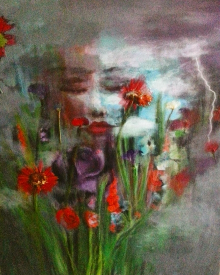 """SOLD Acrylic, Pressed Flowers. 24"""" x 30"""""""