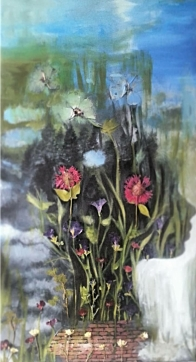 """Acrylic, Pressed Flowers. 24"""" x 48"""" SOLD"""