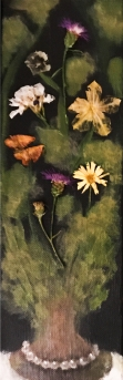 """SOLD Acrylic, Pressed Flowers 4"""" x 12"""""""