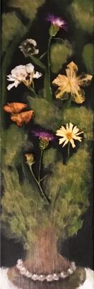"""Acrylic, Pressed Flowers 4"""" x 12"""""""