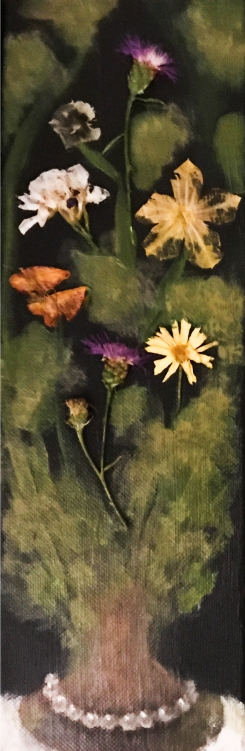 "SOLD Acrylic, Pressed Flowers 4"" x 12"""