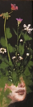 """Acrylic, Pressed Flowers, 4"""" x 12"""" SOLD"""