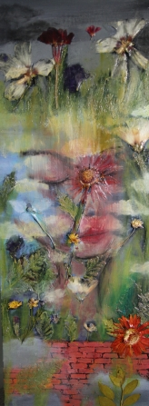 """Acrylic, Pressed Flowers 12"""" x 36"""" SOLD"""