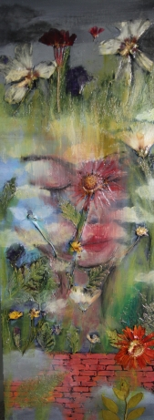 "SOLD Acrylic, Pressed Flowers 12"" x 36"""