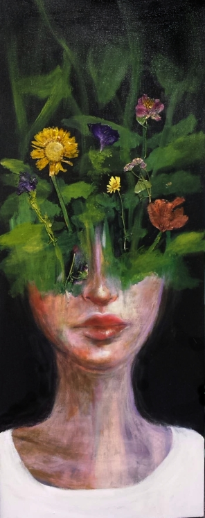 """SOLD Acrylic, Pressed Flowers, 16"""" x 40"""""""