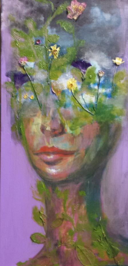 """Acrylic , Pressed Flowers, 12"""" x 24"""