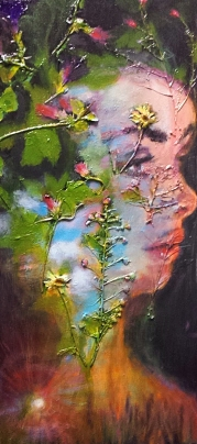 """SOLD Acrylic, Pressed Flowers, 10"""" x 20"""""""