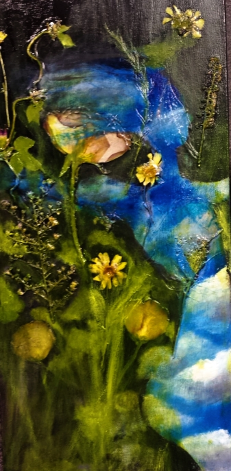 "Acrylic, Pressed Flowers, 10"" x 20"""