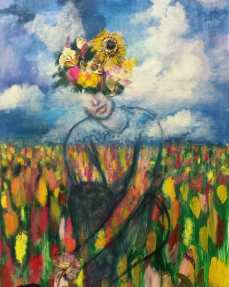 """SOLD Acrylic, Pressed Flowers, 24"""" x 36"""""""