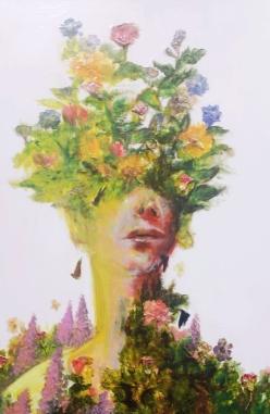 """Acrylic, Pressed Flowers, 24"""" x 36"""""""