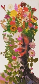 """SOLD Acrylic, Pressed Flowers, 15"""" x 30"""""""
