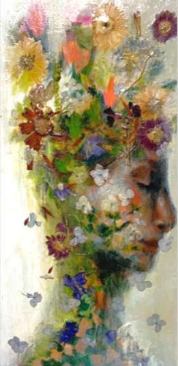 """SOLD Acrylic, Pressed Flowers, 12"""" x 24"""""""