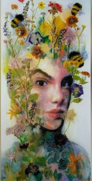 """SOLD Acrylic, Pressed Flowers 15"""" x 30"""""""