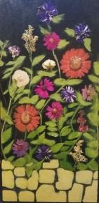 """Acrylic, Pressed Flowers, 15"""" x 30"""""""